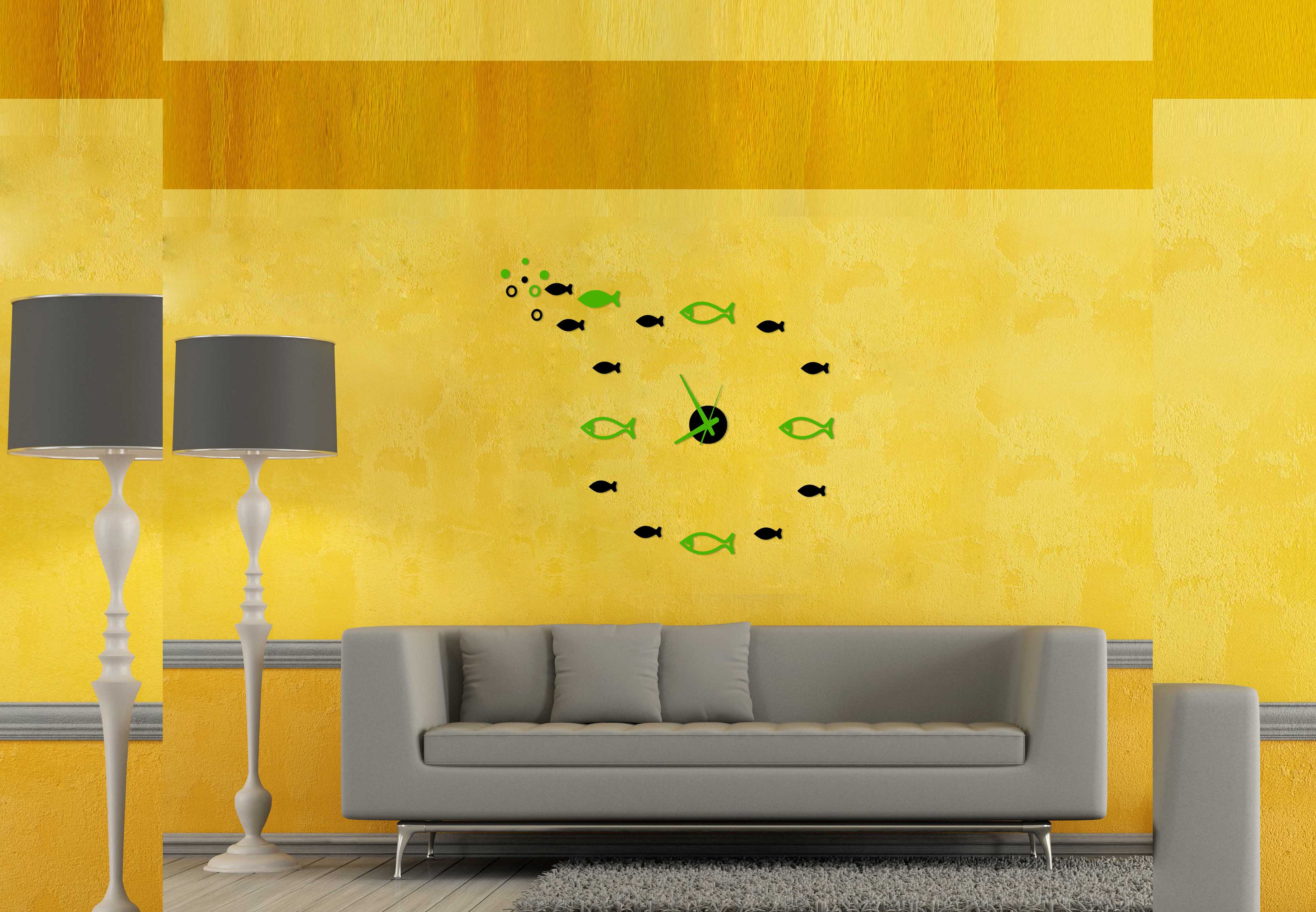 TimeIt Designer DIY Analog Wall Clock - Magic Wand - Green, Black